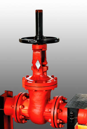 Fire stop valves. Close-up. Isolated on a gray background. Stock Photo