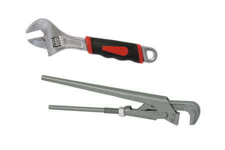 Adjustable and pipe wrench. Isolated on white background. 스톡 콘텐츠