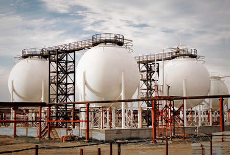 Ball tanks for liquefied petroleum gases. Close-up. 写真素材