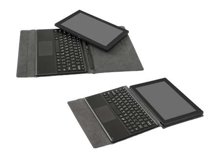 Tablet PC and keyboard. Isolated on white background. 스톡 콘텐츠