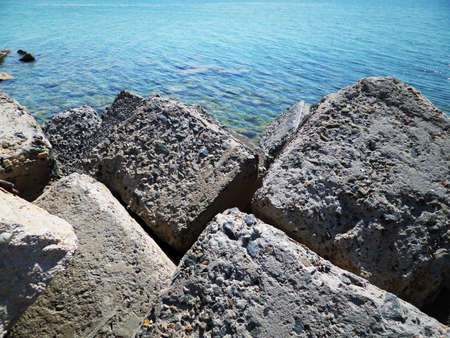Water intake channel for the desalination of sea water. Kazakhstan. Mangistau region. Aktau. Stock Photo