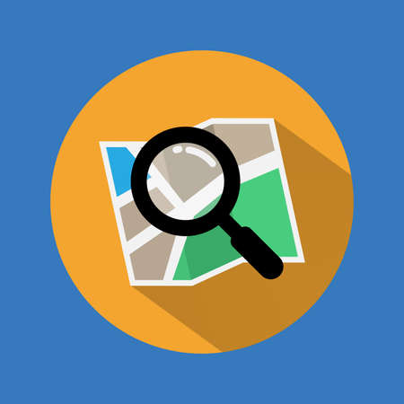 Search icon. Find location on map with long shadow. Vector. Illustration.