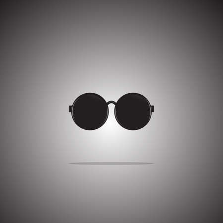 Sunglasses icon flat style on gradient background. There is a reflection on the bottom. Vector. Illustration.  イラスト・ベクター素材