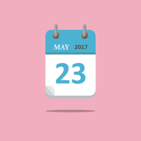 Calendar icon flat style on pink background. Can change the date, month, year. Vector. Illustration.  イラスト・ベクター素材