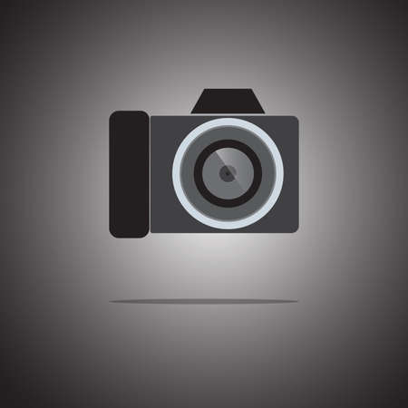 Camera icon flat style on gradient background. Use as a symbol. Vector. Illustration.