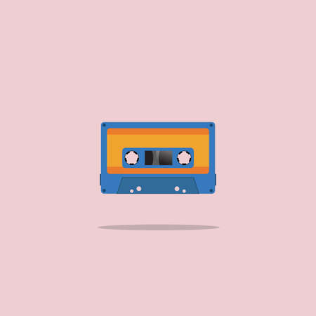 Cassette old tape painted in a flat style on pink background. Vector. Illustration.