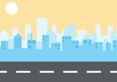 City landscape in flat style. The road cuts through the city. illustration. vector.