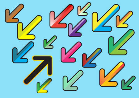 Colorful arrows flat design style on blue background. Vector. Illustration.