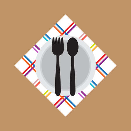 Fork Spoon bowl icon flat style on brown background. Vector. Illustration.