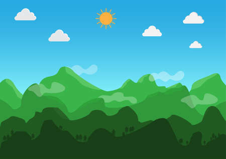 Landscape flat design. During the day, The weather is clear. Vector. Illustration.