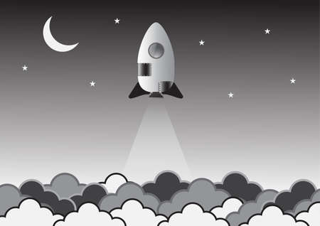 Old rocket on space creative idea. background for start-up company. Vector. Illustration.