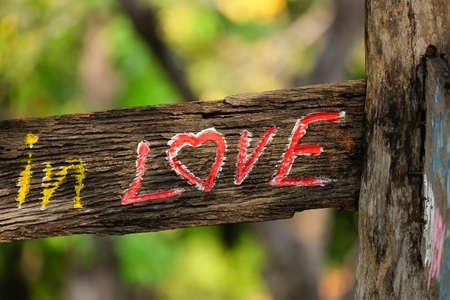 sylvan: The wood label in love in the garden.
