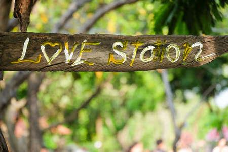 sylvan: The wood label love in the garden.