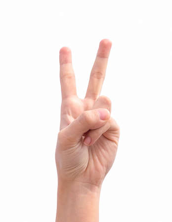 auction win: Hand with two fingers up in the peace or victory symbol