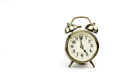 depends: Retro alarm, Either the clock start at 5 am or 5 pm, depends on what it fits for ur concept. free space for your text here Stock Photo