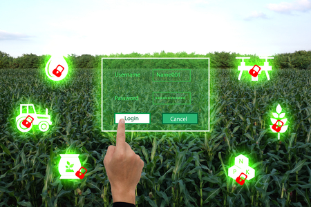 iot, internet of things(agriculture concept),smart farming,industrial agriculture.Farmer use the finger unlock the key and access to the system for control,management and monitor the field Banco de Imagens