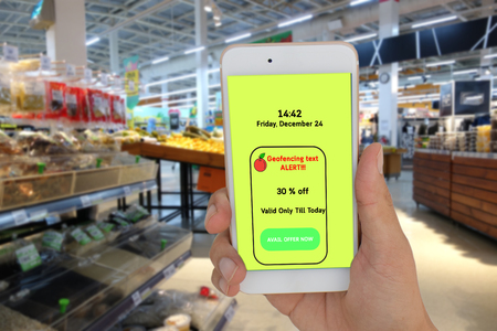 internet of things marketing concpet, the store use geofencing to text the message to customer for special price in the retail