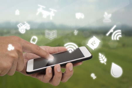internet of things agriculture concept,smart farming,industrial agriculture,farmer use technology to control,monitor,management in the farm Stock Photo
