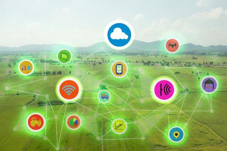 internet věcí průmyslové zemědělství, inteligentní zemědělské koncepty, různé farmy technologie v futuristické icom na poli pozadí ict (informační komunikační technologie)