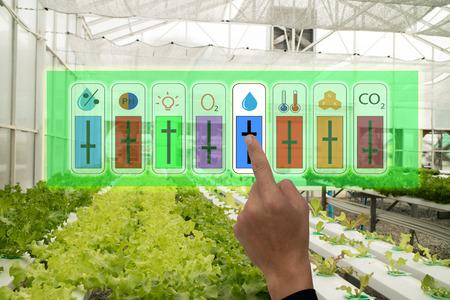 Internet van zaken industriële landbouw en slimme landbouwconcept, boer wijst hand om gebruik te maken van augmeted reality applicatie om de monitor te controleren en te beheersen conditon van groente in de kas