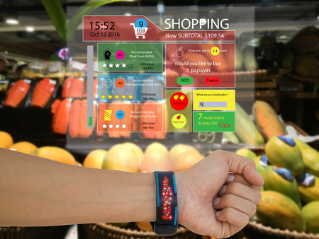 iot,internet of things marketing concept,man wear a smart watch with augmented reality technology to see the data which recommended by retail,the application show subtotal,recommended ,search engine