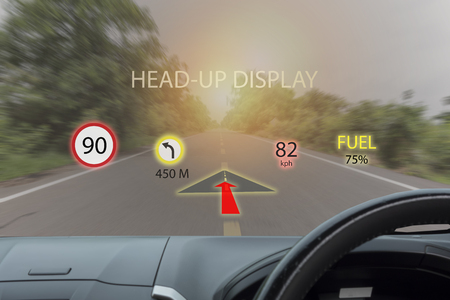 iot, internet of things smart car concepts, Head up display (HUD). Car use augmented reality to show the speed, navigation ,Fuel ,limit of speed ,direction