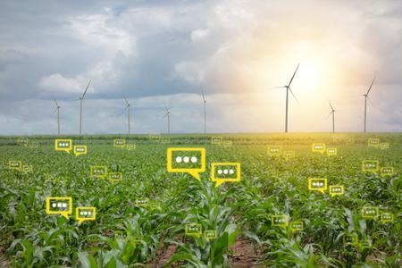 bubble chat danych wykryte przez futurystyczną technologię w inteligentnym rolnictwie z sztucznej inteligencji w celu poprawy wydajności, efektywności i rentowności w gospodarstwie