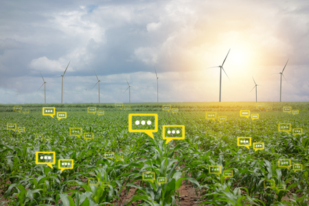 the bubble chat data the detect by futuristic technology in smart agriculture with artificial intelligence to improving yield, efficiency, and profitability in the farm Foto de archivo