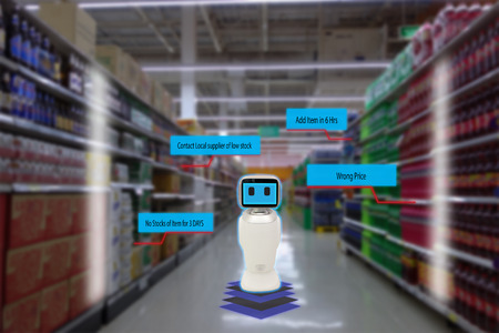 smart retail concept, robot service use for check the data of or Stores that stock goods on shelves with easily-viewed barcode and prices or photo compared against an idealized representation of store Banco de Imagens
