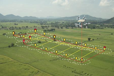 slim landbouwconcept, drone gebruikt een technologie in de landbouw met kunstmatige intelligentie om het gebied te meten, fotografeert en vliegt de lijn volgen en stuurt de gegevens terug naar boer in cloudsysteem