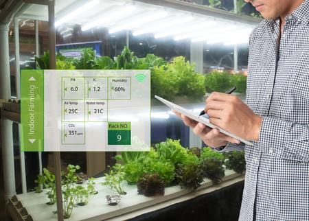L'agriculture intelligente dans un concept futuriste, la technologie d'utilisation des agriculteurs pour surveiller, contrôler et ajuster conduit, l'atmosphère, l'humidité, le niveau de l'eau et continuer à suivre le temps de récolte dans l'agriculture verticale ou d'intérieur Banque d'images - 87117741
