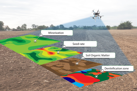 smart agriculture concept, farmer use infrared in drone with high definition soil mapping while planting,conduct deep soil scan during a tillage pass include organic, ec, om, Nitrogen,seed rate Standard-Bild
