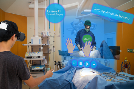 Smart medical with augmented and virtual reality technology concept, medical student use ar and vr for practice the surgery simulation to assist the doctor in vr in operation room to feel like a real