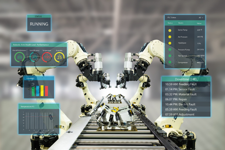 iot industry 4.0 concept.Smart factory using automation robotic arms with augmented mixed virtual reality technology to show data with artificial intelligence user interface (ui) while operation line