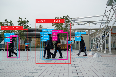 iot machine learning with human and object recognition which use artificial intelligence to measurements ,analytic and identical concept, it invents to classification,estimate,prediction, database Archivio Fotografico