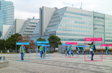 iot machine learning with human and object recognition which use artificial intelligence to measurements ,analytic and identical concept, it invents to classification,estimate,prediction, database 스톡 콘텐츠