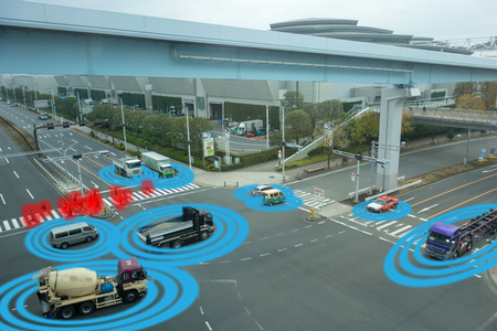 iot smart automotive Driverless car with artificial intelligence combine with deep learning technology. self driving car can situational awareness around the car, letting it navigate itself 360 degree Editorial