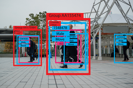 iot machine learning with human and object recognition which use artificial intelligence to measurements ,analytic and identical concept, it invents to classification,estimate,prediction, database Foto de archivo