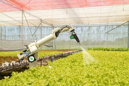 slimme robot in de landbouw, futuristisch concept, robotboeren (automatisering) moeten worden geprogrammeerd om te werken om chemicaliën, kunstmest te spuiten of de efficiëntie te verhogen, een zaadje te kweken, te oogsten, tijd te besparen