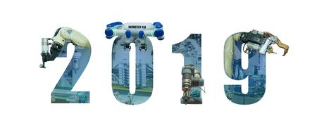 2019 año de la industria inteligente 4.0 en futurista con automatización con inteligencia artificial o concepto de tendencia ai. La tecnología en la industria autónoma, brazo robótico, impresión 3d en la fabricación