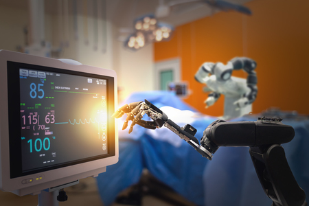 smart medical technology concept,advanced robotic surgery machine at Hospital, robotic surgery are precision, miniaturisation, smaller incisions, decreased blood loss, less pain, quick healing time Reklamní fotografie
