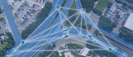 iot smart automotive Driverless car with artificial intelligence combine with deep learning technology. self driving car can situational awareness around the car, letting it navigate itself 360 degree Standard-Bild