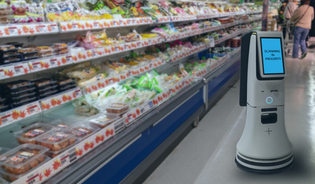 smart retail concept, robot service use for check the data of or Stores that stock goods on shelves with easily-viewed barcode and prices or photo compared against an idealized representation of store Imagens