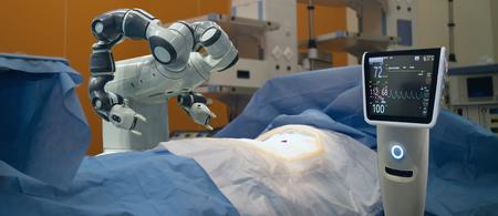 slim medisch technologieconcept, geavanceerde robotchirurgiemachine in het ziekenhuis, robotchirurgie is precisie, miniaturisatie, kleinere incisies, minder bloedverlies, minder pijn, snelle genezingstijd