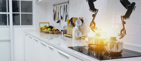 smart handy dexterous chef robotic assistant in kitchen technology concept, robot hand receive an order and cooking the recipe by program and it can self-teaching technology for update the new menu