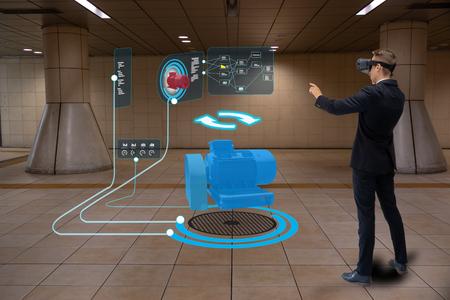 iot tecnología inteligente futurista en concepto de industria 4.0, ingeniero que usa realidad virtual mixta aumentada para educación y capacitación, reparaciones y mantenimiento, ventas, diseño de productos y sitios, y más. Foto de archivo