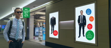iot machine learning with human , object recognition which use artificial intelligence to analytic concept, it invents to prediction the customer needed with augmented reality on the digital Signage Imagens