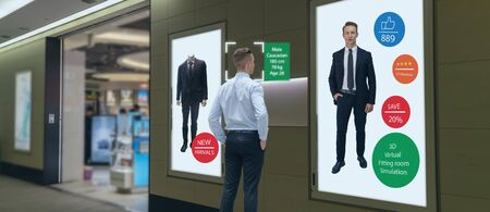 iot machine learning with human , object recognition which use artificial intelligence to analytic concept, it invents to prediction the customer needed with augmented reality on the digital Signage Standard-Bild