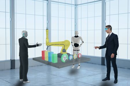 3d rendering business man using virtual mixed augmented reality and discuss with artificial intelligent robot about data in industry, manufacturing, factory or business to improve efficiency , quality 写真素材