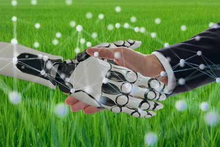 deep machine learning with artificial intelligence technology with neural network concept, hand man and robotic hand check hand to Collaborate, improvement, make a profit, ebitda, skill, decrease time Stock Photo